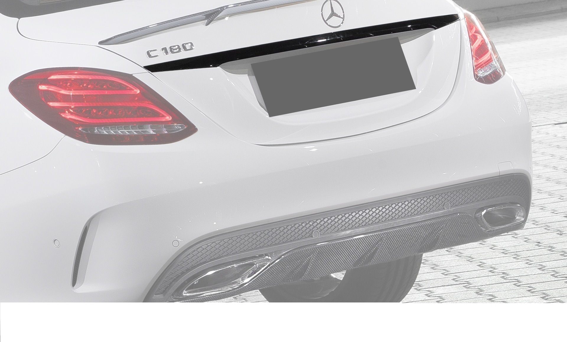 Hodoor Performance Carbon fiber trim on the trunk above number AMG Style for Mercedes C-class W205