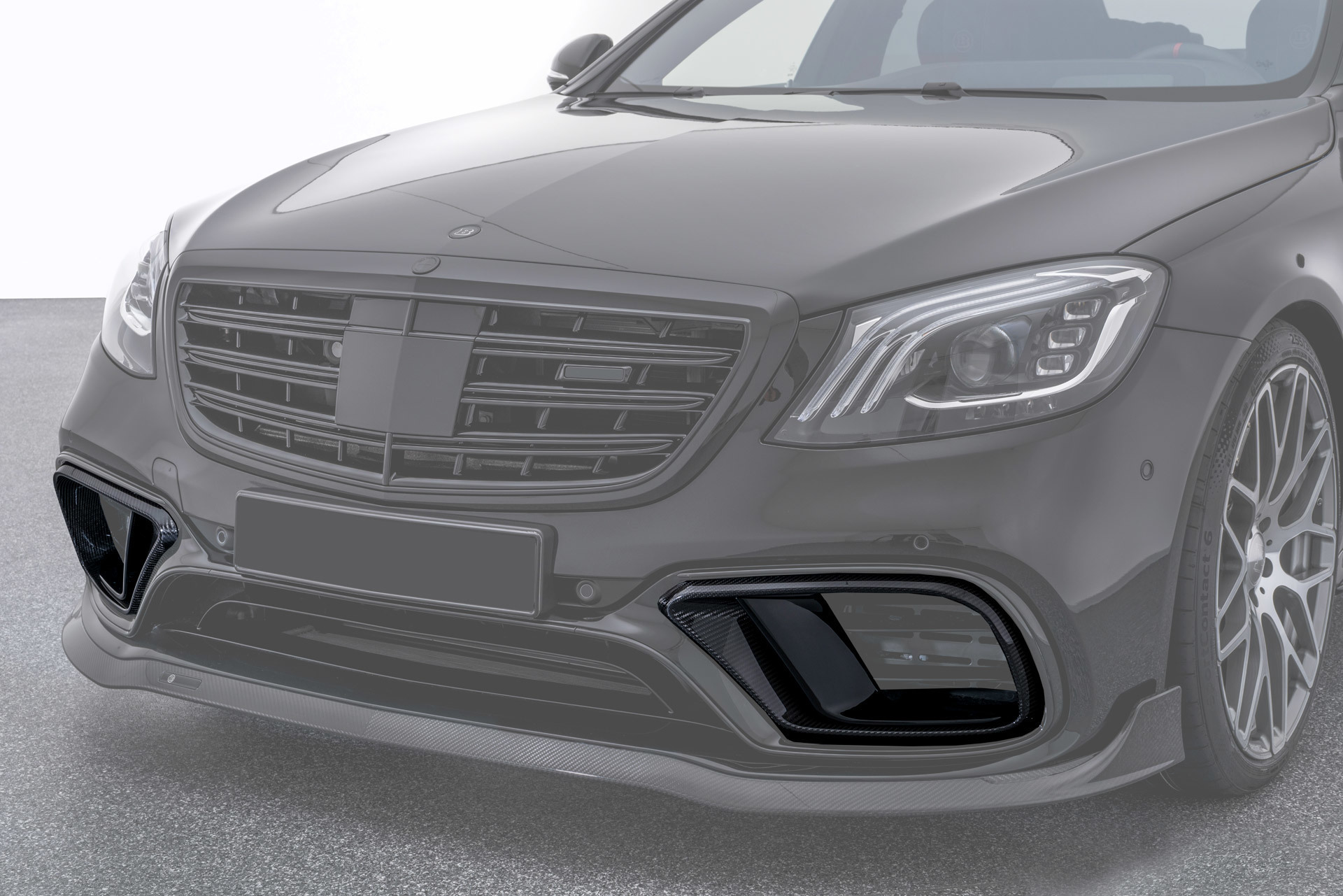 Hodoor Performance Carbon fiber Inserts in the front bumper for Mercedes S63 AMG W222